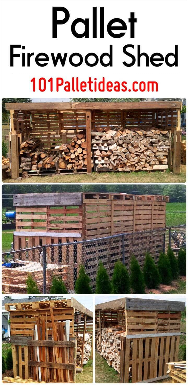 DIY pallet firewood shed project outdoor firewood storage idea tutorial DIY