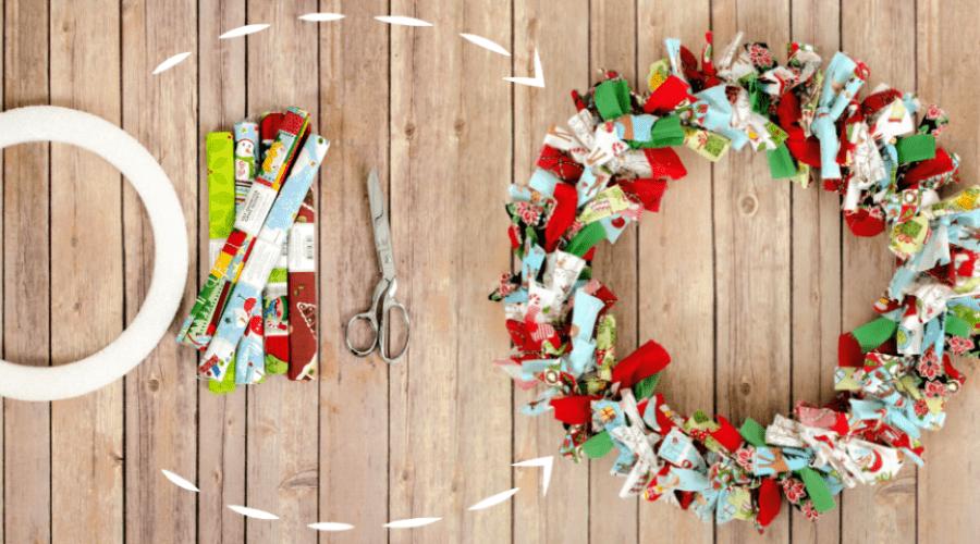 xmas door decorations diy wreath fabric scrap tutorial