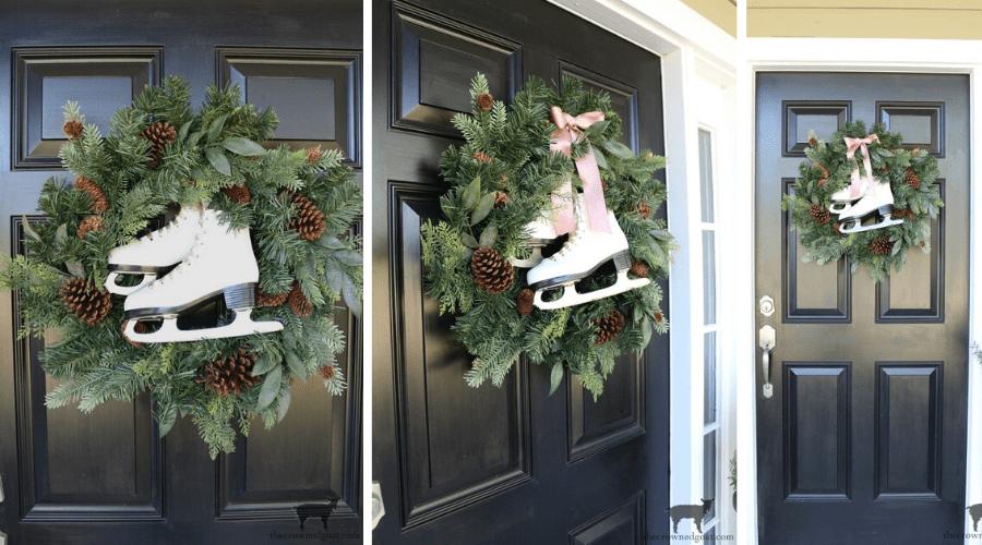 diy ice skate wreath tutorial door decoration for christmas