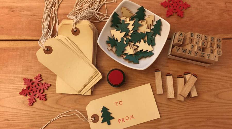 xmas gift ideas for neighbors diy handmade gift tags and ornaments on wooden table