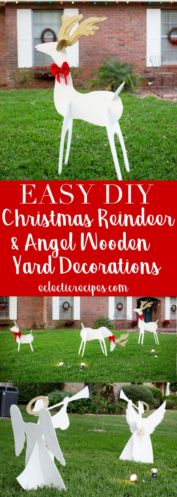 Christmas Reindeer and Angel Wooden Yard Decorations DIY