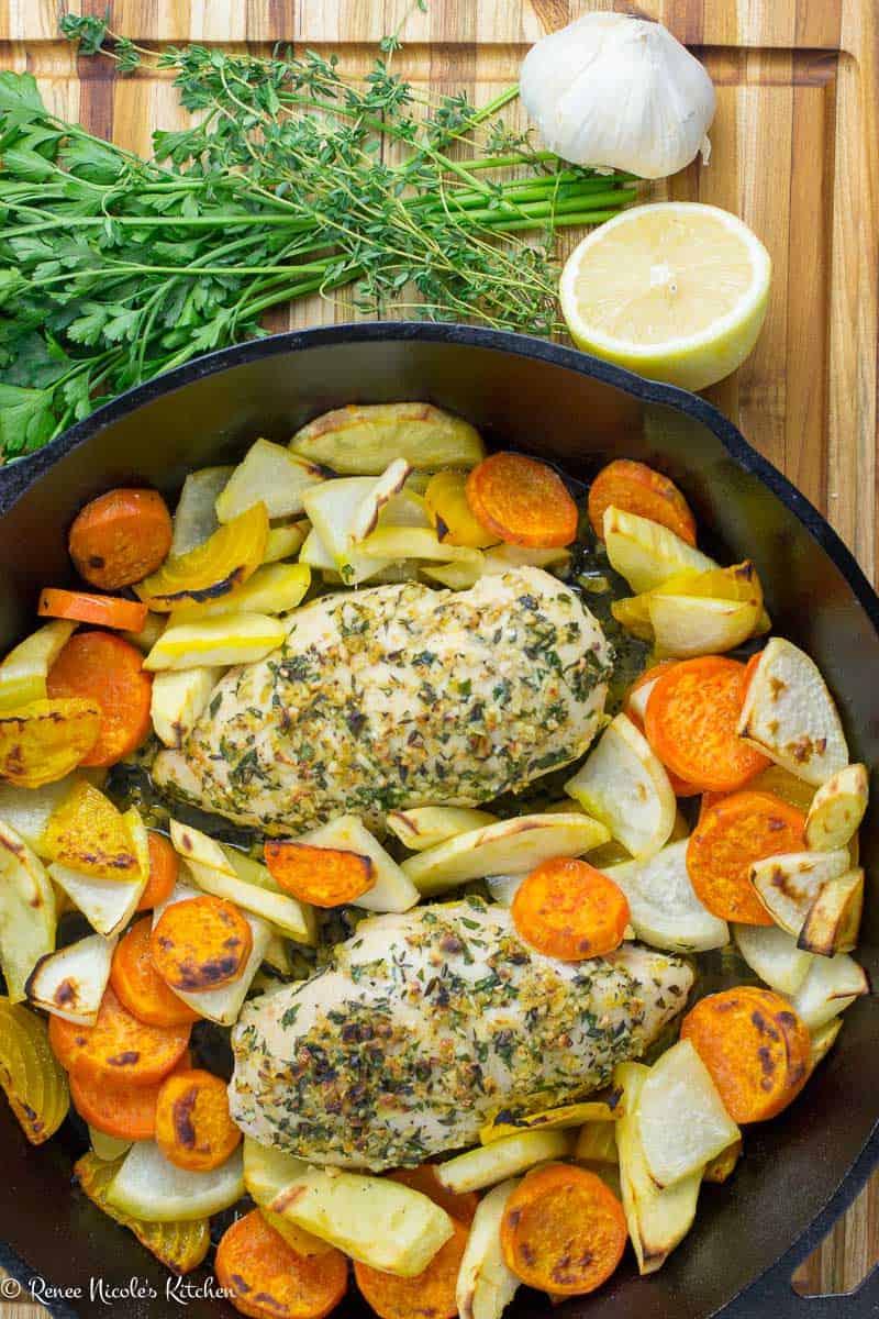 One Pan Garlic Herb Chicken and Winter Veg