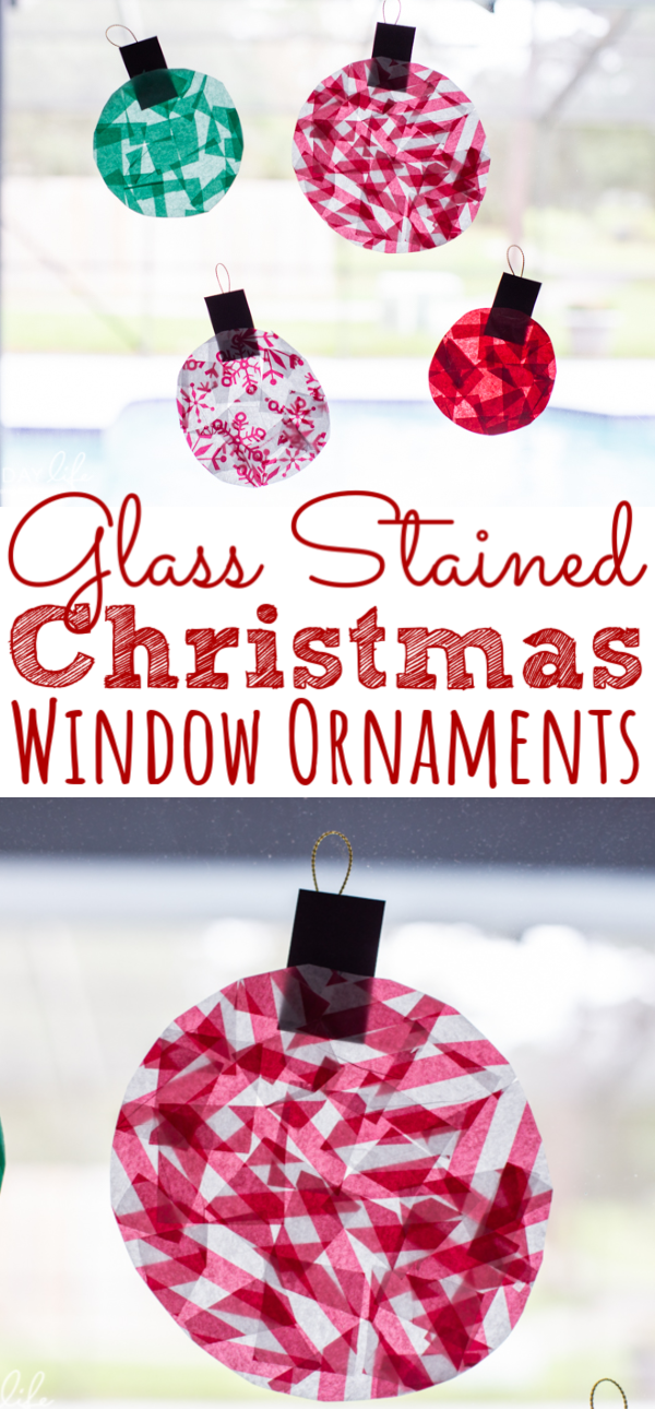 GLASS STAINED CHRISTMAS WINDOW ORNAMENTS KIDS CRAFT