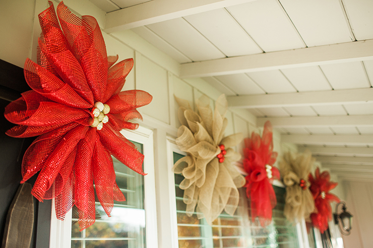 Mesh Poinsettia Christmas Decor