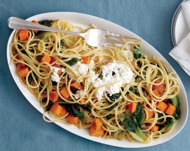 Spaghetti with Butternut Squash and Escarole