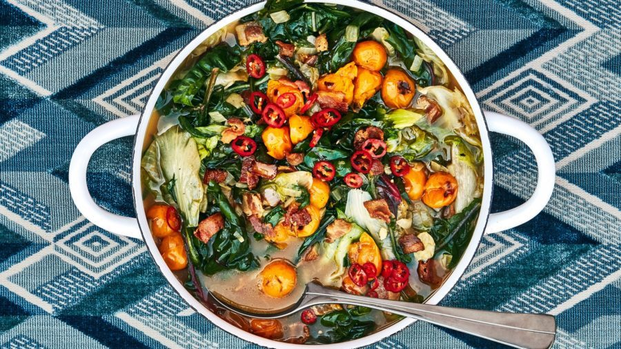 Wilted Greens in Tomato-Bacon Broth