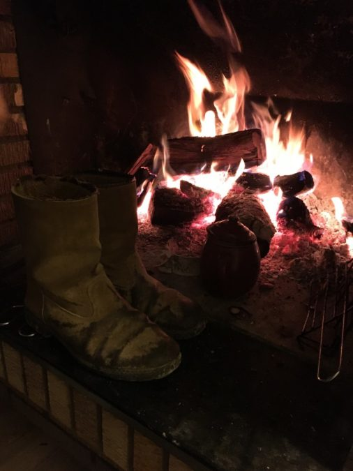 a frame of fire and retro boots, almond firewood,