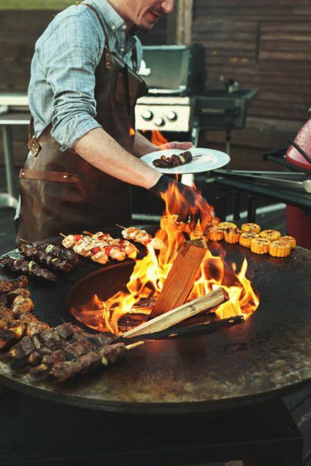 almond firewood grill outdoors low smoke high heat