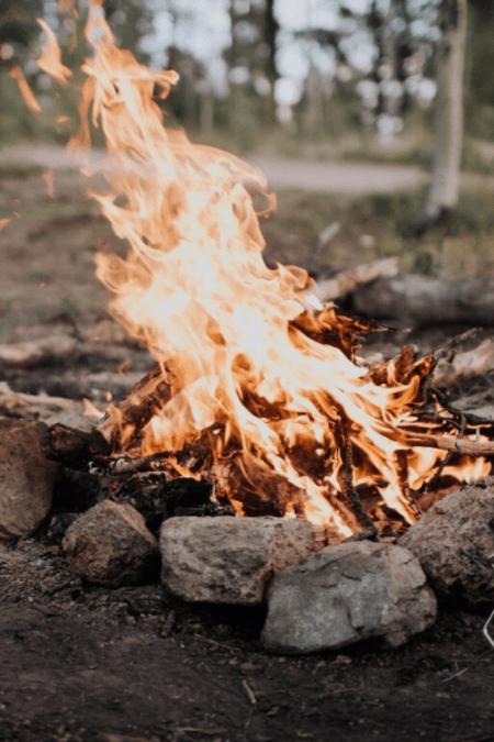 a campfire burns outdoors cherry firewood campfire smell smoke tall