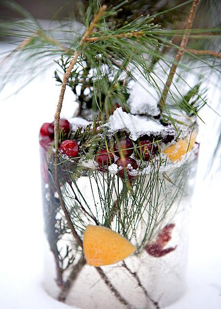DIY Holiday Ice Lantern tutorial ice sculpture