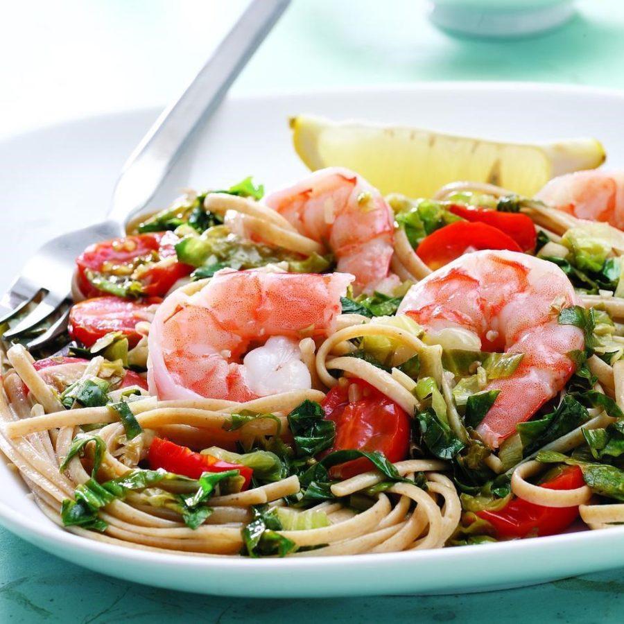 linguini with escarole and shrimp