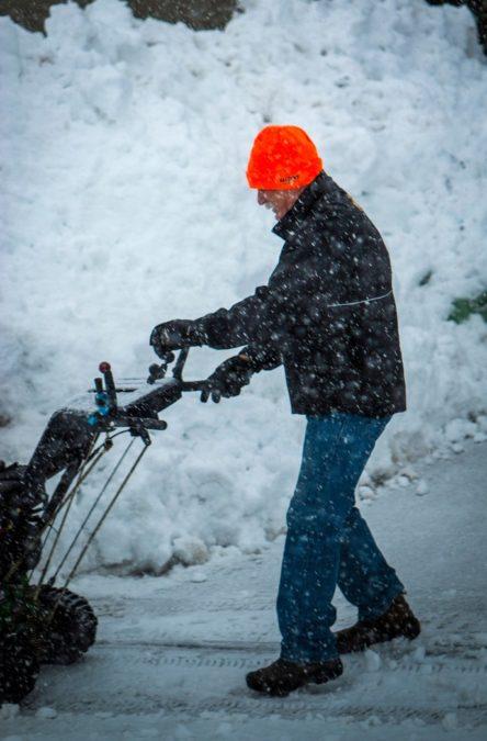 winter, snow, weather, driveway, man, machinery, blue jeans, snowblower