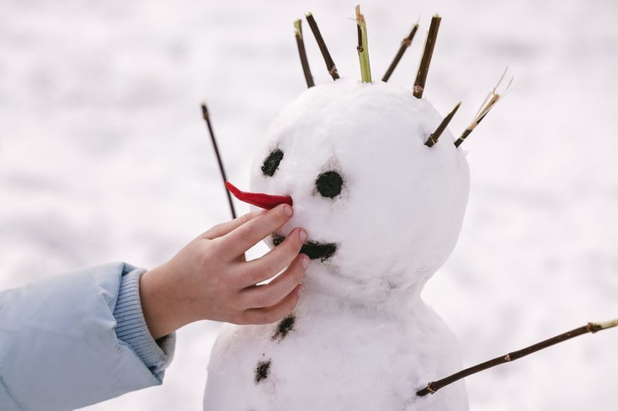 Children hand inserts a red pepper instead of a snowman nose.