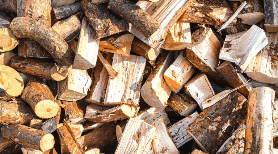 pinewood chopped stacked for firewood from above