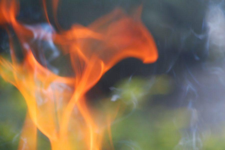 burning woodsmoke outdoors closeup of bonfire