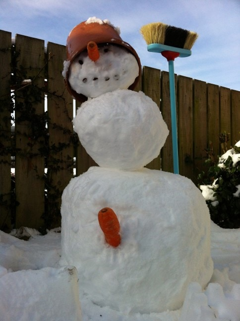 kids helped make the snowman but the parents added a bit