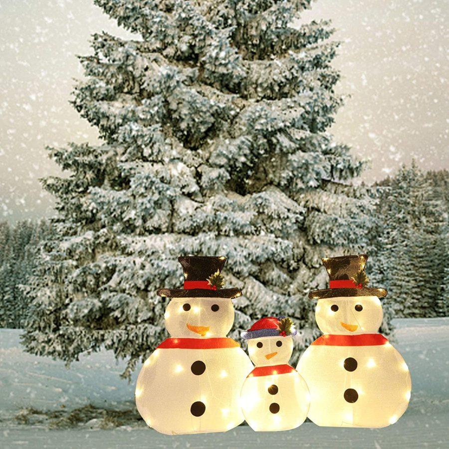 3 lighted snowmen lawn