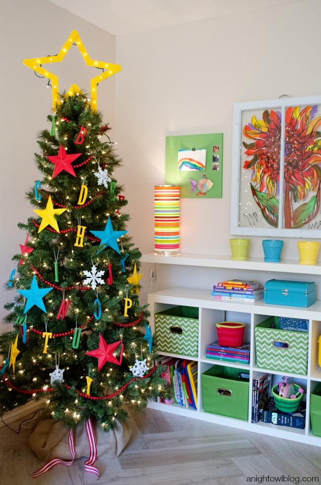 ABC Kids Christmas Tree garland DIY Tutorial