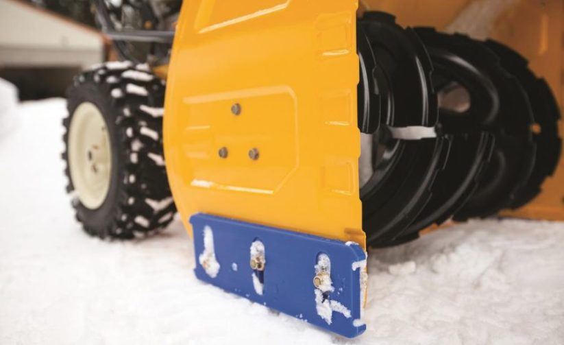 Commercial grade Cub Cadet snow blower with skid plate.