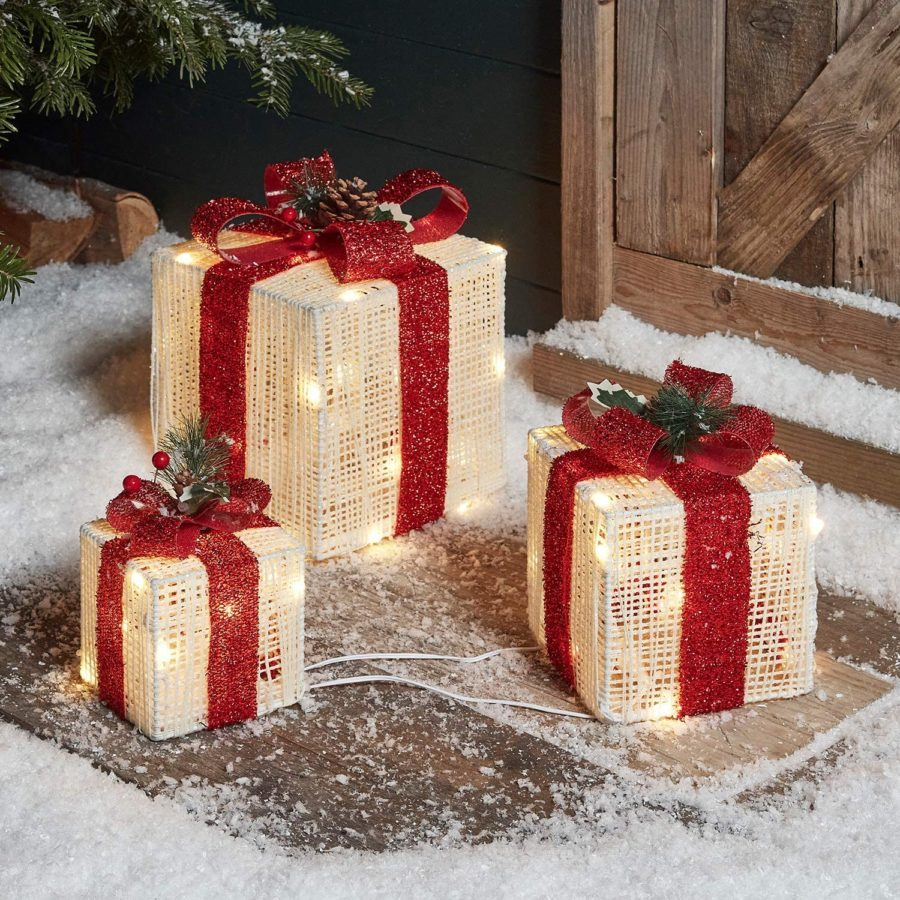 Lights4fun, Inc. Set of 3 Red & White Lighted LED Box Indoor & Outdoor Decorations