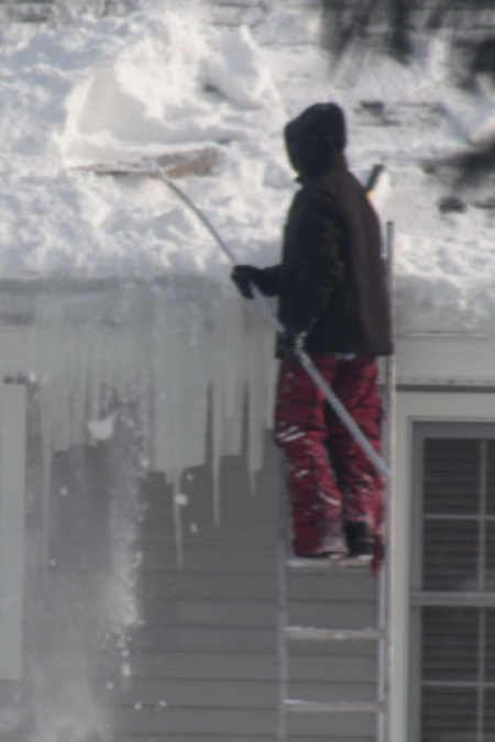 roof rake bad form using ladder unsafe in winter