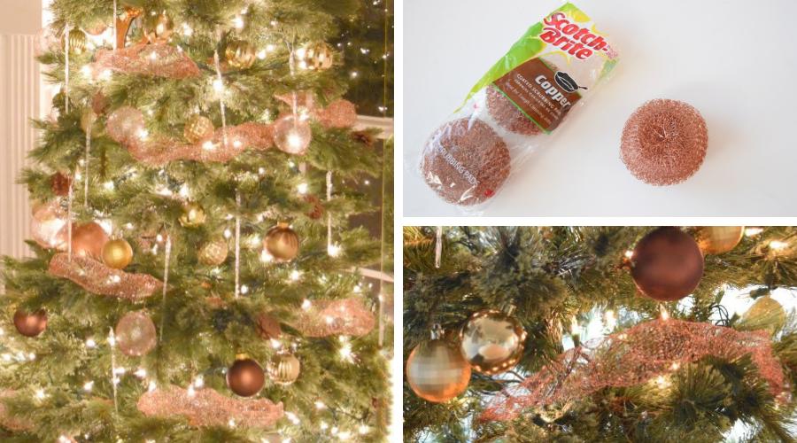 copper mesh diy christmas tree garland tutorial mosaic images