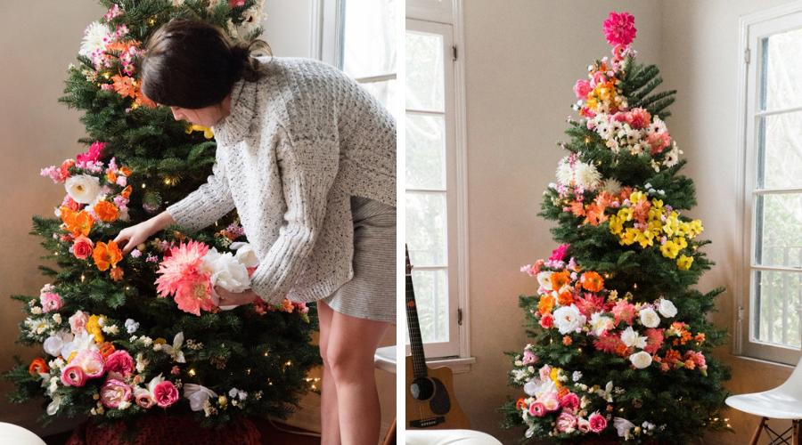 floral christmas tree garland diy tutorial