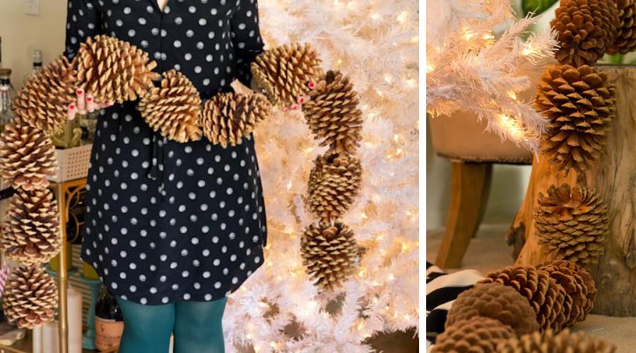 diy tutorial giant pinecone christmas tree garland