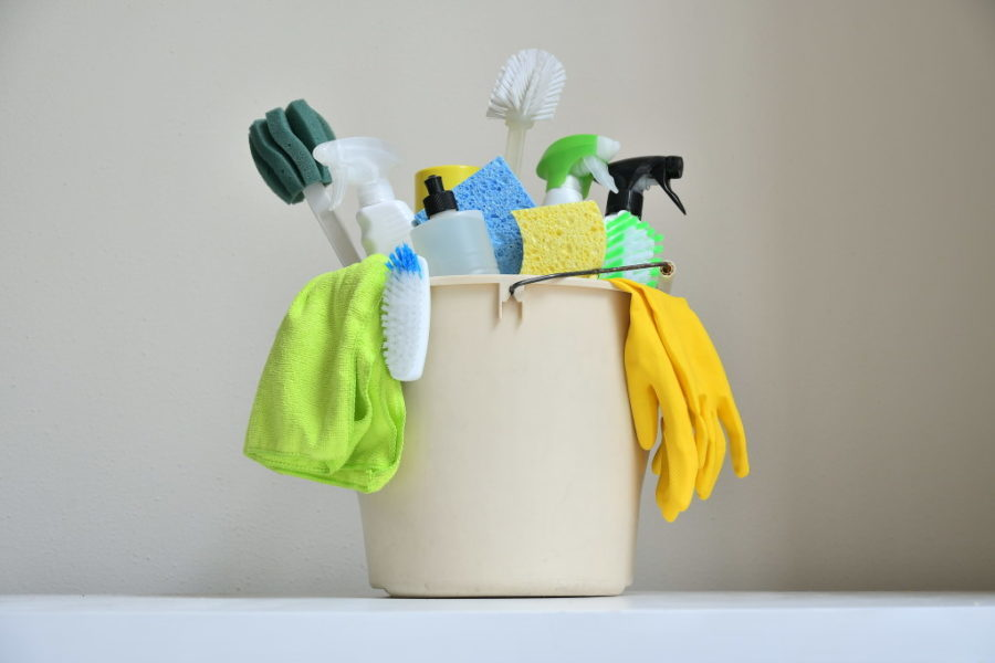 cleaning supplies bucket cleaners gloves sponges brushes