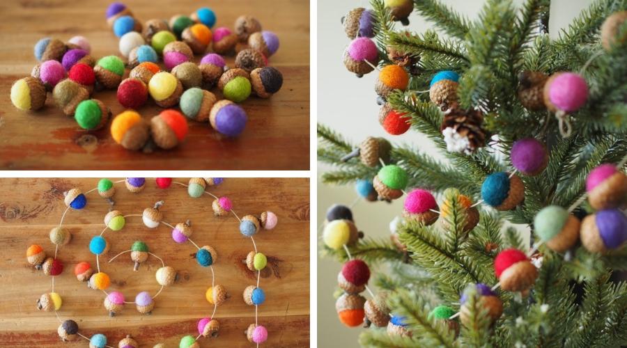 tutorial diy christmas tree garland needle felted acorns