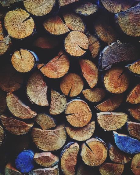juniper wood seasoning in the rack