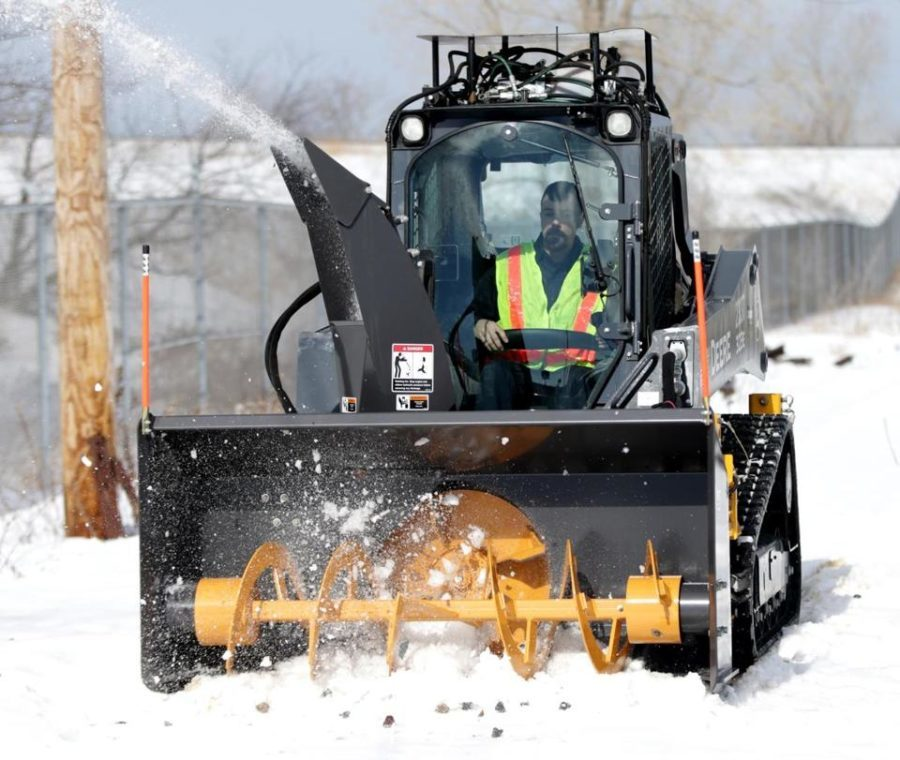 skid steer snow blower in use franklin Mass