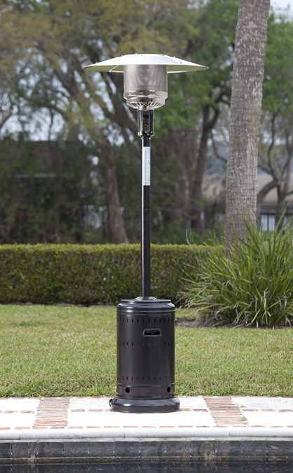 AmazonBasics Outdoor Patio Heater with Wheels, Propane 46,000 BTU, Commercial & Residential