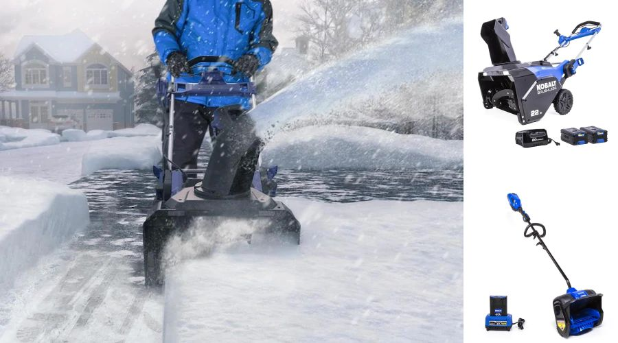 Kobalt snow blower in action on a snowy driveway.