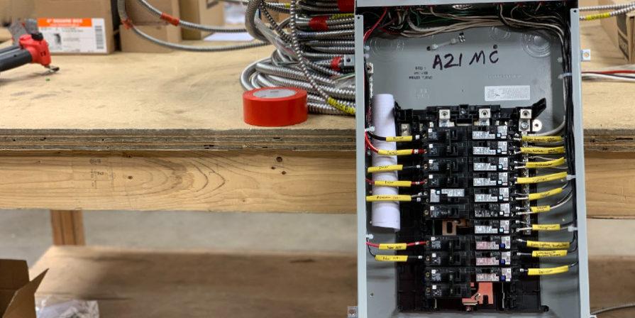 Open breaker in a workshop.