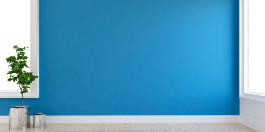 Empty room with blue wall.