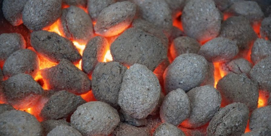 A load of smoldering charcoal and red-hot embers.