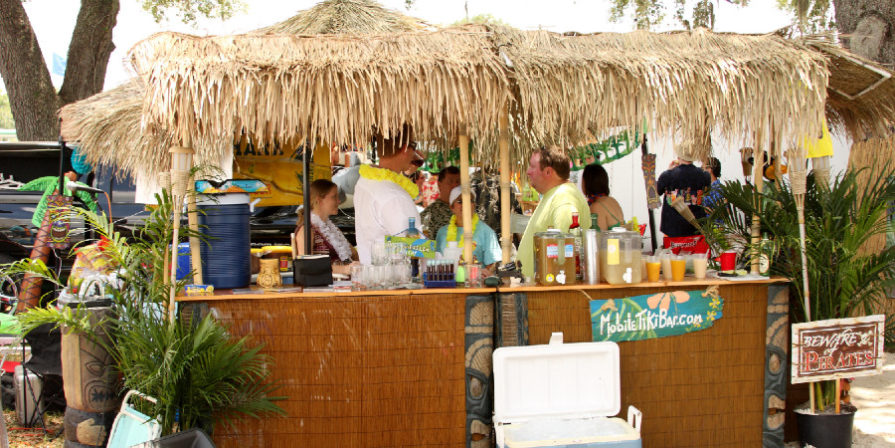 Busy Tiki bar during a party.