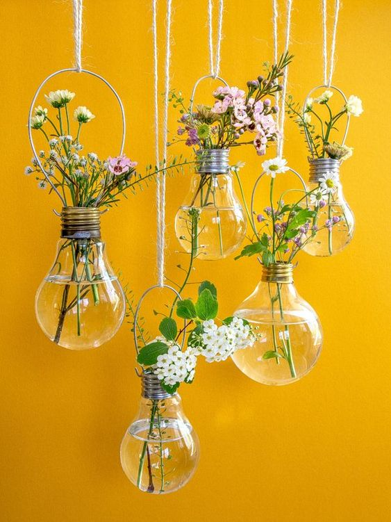 hanging lightbulb vases for small plants and flowers