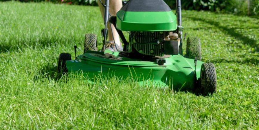 Close-up of a man pushing a green lawn mower across lush green grass.