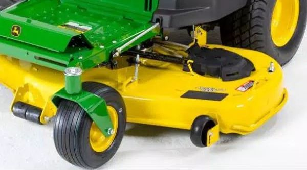 John Deere lawn mower with a particularly large deck.