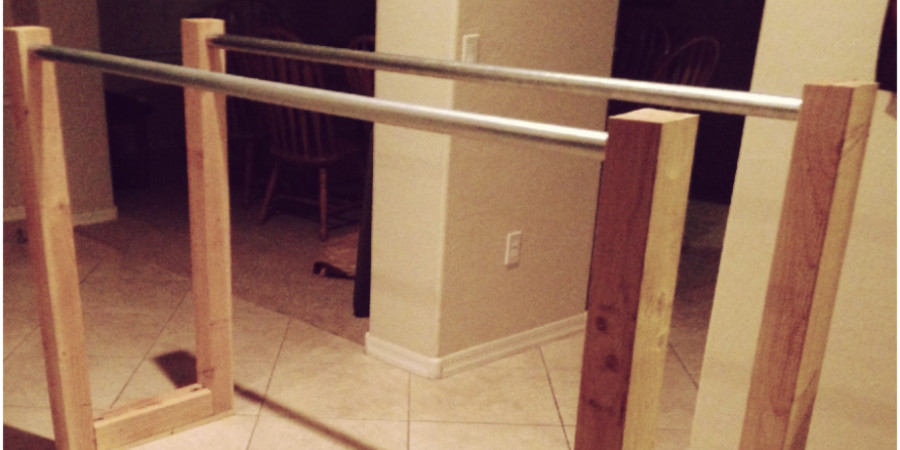 DIY parallel bars made of wooden frame