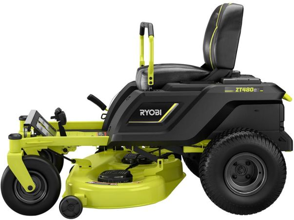 A bright green and black 42-inch Ryobi electric riding mower from the side.