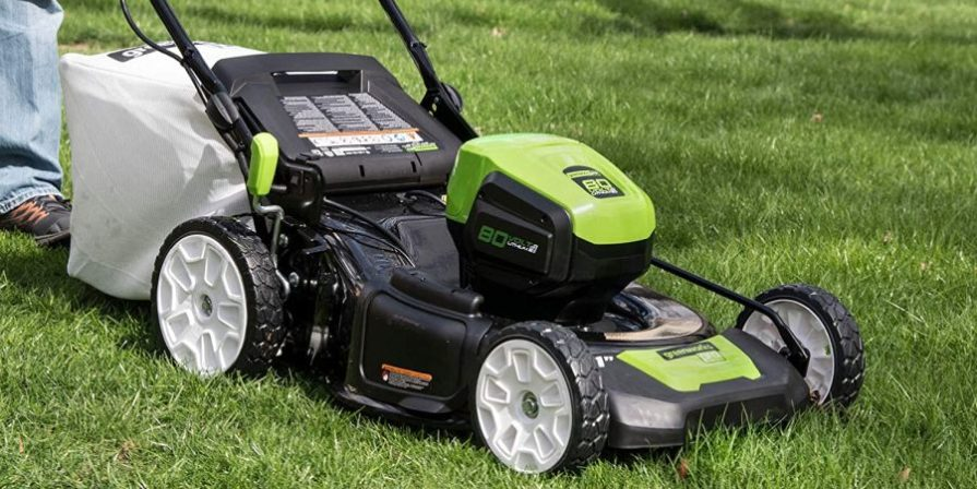 Self-propelled cordless electric gas mower by GreenWorks.