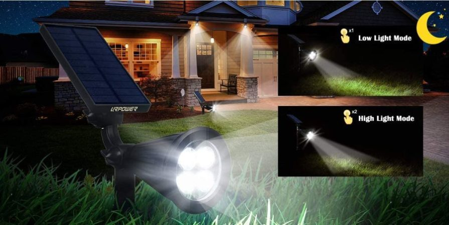 URPOWER solar spotlights with low and high light mode setting.