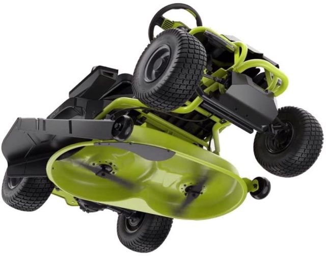 A black and green Ryobi 38-inch mower deck with dual blades, from the bottom.