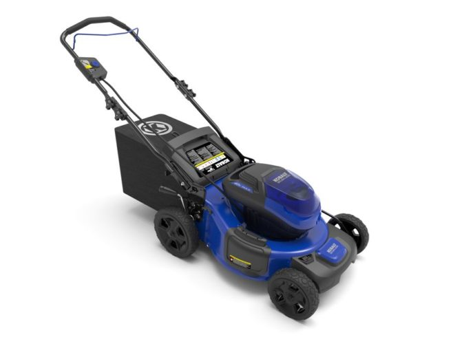 A side view of a glossy blue and black Kobalt brand lawn mower with black hopper on a white background.