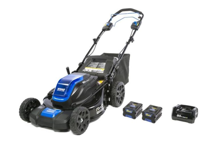 A black and shiny blue Kobalt self-propelled electric lawn mower with two Lithium-Ion batteries and a charging station.