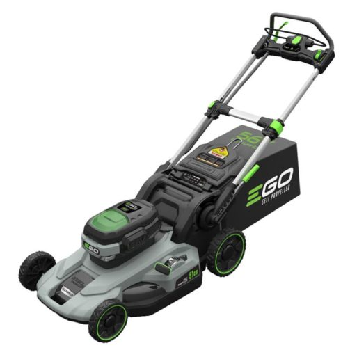 A Power+ series self-propelled lawn mower by Ego, silver, grey, and black in color with bright green highlights.