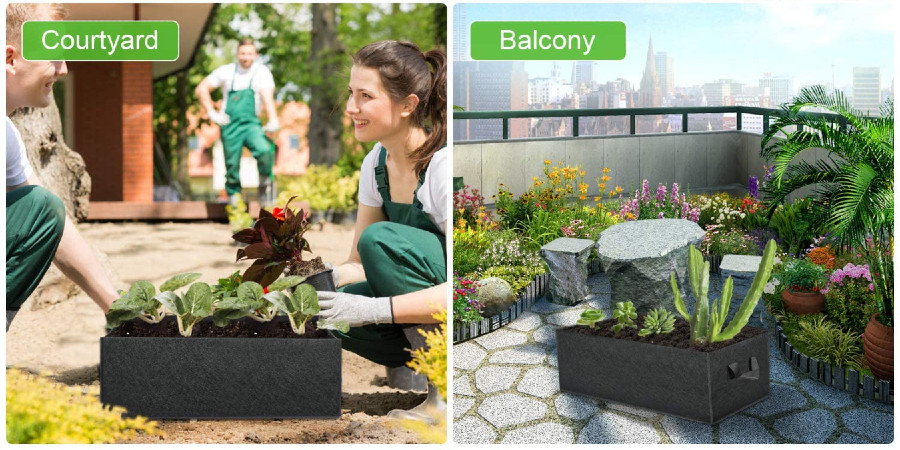 Two people adding plants to a grow back in the courtyard (left) and a grow bag sitting on a city balcony (right).